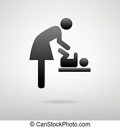 Baby changing, woman and baby black icon