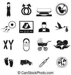 Pregnancy black simple icons set