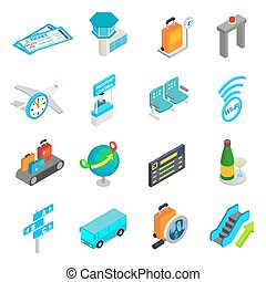 Airport isometric 3d icons set isolated on white background