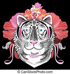 graphic decorative portrait of a tiger - interesting graphic...