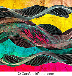 abstract colorful line wave vector illustration - set of...