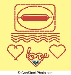 Sausage symbol and continuous linked sausages, hearts,...
