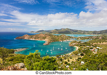Antigua landscape - View of English Harbor in Antigua from...
