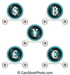 White abstract icons and silver currencies symbols
