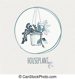 house plant pot - vintage style house plant hand drawn...