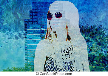girl and skyscraper double exposure - Teenage girl wearing...