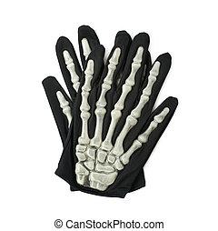Skeleton hand glove isolated - Pair of skeleton hand gloves...