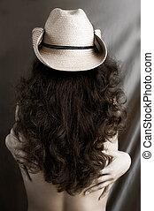 Sexy, mujer, vaquero, sombrero