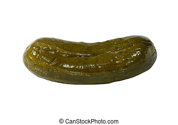 Large Pickle - Large dill pickle close-up isolated...