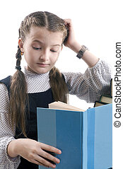 girl with the book thinks