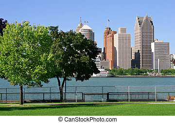 Detroit, USA - view of Detroit skyline from Windsor, Ontario