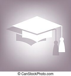Mortar Board or Graduation Cap icon with shadow on perple...