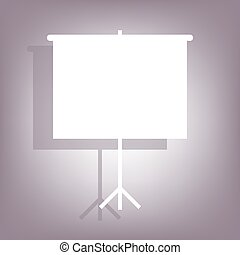 Blank Projection screen icon with shadow on perple...