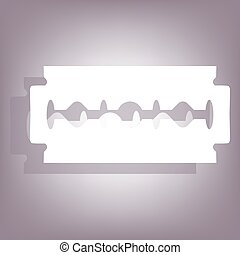 Razor blade icon with shadow on perple background Flat style...