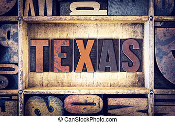 Texas Concept Letterpress Type - The word Texas written in...