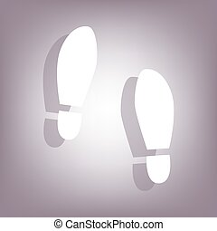 Imprint soles shoes icon with shadow on perple background...