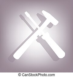 Tool icon with shadow on perple background Flat style