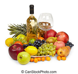 Still Life - heap of fruits and bottle of white wine