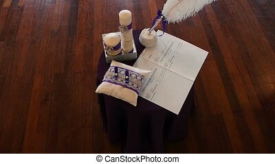 The wedding ceremony, the newlyweds table for painting