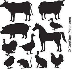 Vector farm animal black silhouette