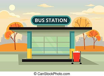 Bus stop station Vector flat illustration