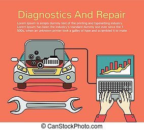 Auto mechanic service. Vector flat line illustration