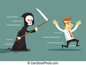 Businessman run away from death. Vector flat illustration