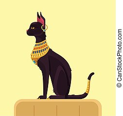 Egypt cat. Vector flat illustration