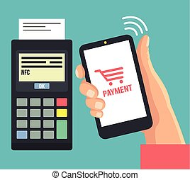 Mobile payments using smartphone Vector flat illustration