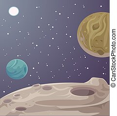 Alien fantastic landscape Vector cartoon illustration