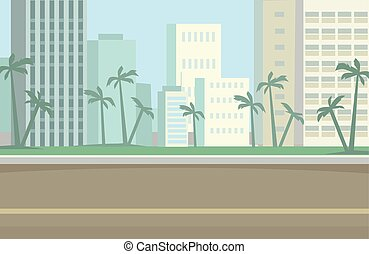 Miami Skyline Vector flat illustration