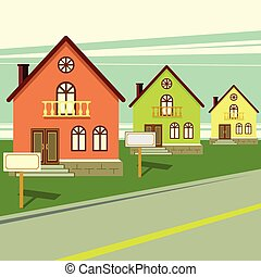 Living houses for sale. Vector flat illustration