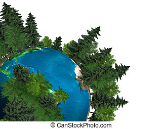 Green Planet Earth - Conceptual stock 3D Illustration of the...