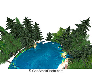 Green Planet Earth - 3D Illustration of the Earth globe...