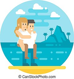 Flat design couple piggyback beach illustration vector