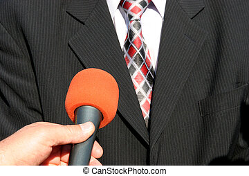 Tv interview - TV reporter with microphone, Tv interview
