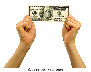 One hundred dollar bill - Hands holding one hundred dollar...
