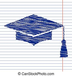 Mortar Board or Graduation Cap, Education sign illustration...