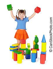 Joyful child - builder isolated on white background - Joyful...