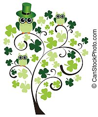 owl tree - vector shamrock owl tree