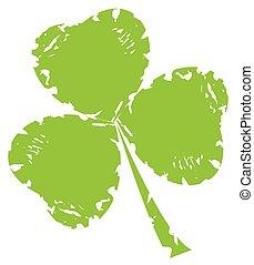 Shamrock - vector grunge shamrock leaf