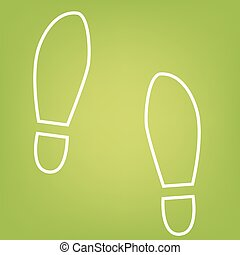 Imprint shoes line icon on green background Vector...