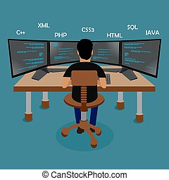 Programming, coding, flat concept, vector Illustration