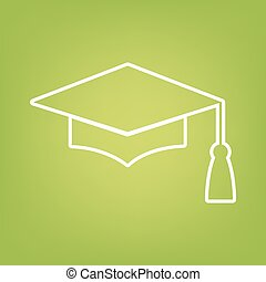 Mortar Board or Graduation Cap line icon on green background...