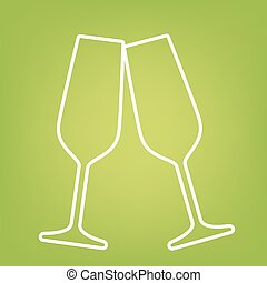 Sparkling champagne glasses line icon on green background....