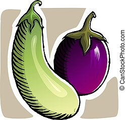 brinjal	 - Illustration of a two brinjal