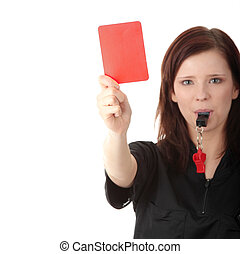 Young female referee showing the red card, isolated on white