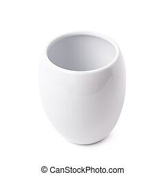 White glazed ceramic cup isolated over the white background
