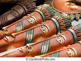 Hand crafted masks - Hand crafted clay masks of India