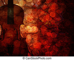 Violin Grunge Background Illustration - Violin with Bokeh...